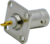 Connector, BNC Female 4 hole Panel Mount, Delrin Insulation, Gold Pin, Nickel Plated Body -- 13-22-DGN - Image