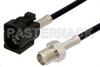 SMA Female to Black FAKRA Jack Cable 24 Inch Length Using RG174 Coax -- PE39350A-24 -Image