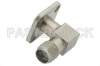 SMA Female Right Angle Field Replaceable Connector With EMI Gasket 4 Hole Flange Mount .012 inch Pin -- PE44015 -Image