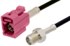 SMA Female to Violet FAKRA Jack Cable 60 Inch Length Using PE-C100-LSZH Coax -- PE39349H-60 -Image