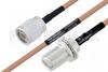 MIL-DTL-17 N Male to N Female Bulkhead Cable 30 Inch Length Using M17/128-RG400 Coax -- PE3M0066-30 -Image