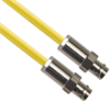 CJ70-7 TRB Jack 3-Lug Female to CJ70-7 TRB Jack 3-Lug Female 50 Ohm TRC-50-2 Triaxial cable Yellow jacket 48-inch Triax Cable Assembly -- MP-2607-48 -Image
