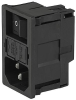 IEC Appliance Inlet C14 or C18 with Fuseholder 2-pole, Line Switch 1- or 2-pole -- KM - Image
