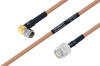 MIL-DTL-17 SMA Male Right Angle to TNC Male Cable 200 cm Length Using M17/128-RG400 Coax -- PE3M0083-200CM -Image