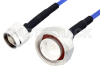 N Male to 7/16 DIN Male LSZH Jacketed Low PIM Cable 100 cm Length Using SR402FLJ Low PIM Coax with HeatShrink, RoHS -- PE3C2002-100CM -Image