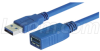USB 3.0 Cable Type A Male/Female Extension, 0.3M -- CAU3AX-03M