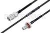 MIL-DTL-17 SMA Male to SMA Female Bulkhead Cable 6 Inch Length Using M17/119-RG174 Coax -- PE3M0107-6 -Image