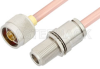 N Male to N Female Bulkhead Cable 36 Inch Length Using RG401 Coax, RoHS -- PE3983LF-36 -Image