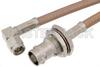 SMA Male Right Angle to BNC Female Bulkhead Cable 48 Inch Length Using RG400 Coax -- PE34957-48 -Image