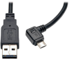Dedicated Reversible USB Charging Cable (Reversible A to Right Angle 5-Pin Micro B) Black, 3-ft. -- UR05C-003-RB - Image