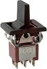 Switch, SM. LEV. HNDL. W/BEZEL, DPDT, ON-OFF-ON, 5A@120VAC OR 28VDC; 2A@250VAC -- 70128191 - Image