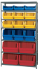 QUANTUM 42 Wide Shelving w Extra-Large Red Yellow Blue Bins -- 4299400