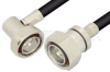 7/16 DIN Male to 7/16 DIN Male Right Angle Cable 48 Inch Length Using PE-C400 Coax -- PE37958-48 -Image