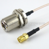 N Female Bulkhead to SMA Female Cable RG316 Coax in 72 Inch -- FMC1113316-72 -Image