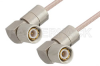 75 Ohm 1.6/5.6 Plug Right Angle to 75 Ohm 1.6/5.6 Plug Right Angle Cable 24 Inch Length Using 75 Ohm RG179 Coax, RoHS -- PE36123LF-24 -Image