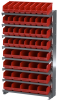Akro-Mils 400 lb Red Gray Powder Coated Steel 16 ga Single Sided Fixed Rack - 36 3/4 in Overall Length - 50 Bins - Bins Included - APRSAST RED -- APRSAST RED - Image