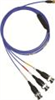 4-conductor, low noise, shielded FEP cable, 5-ft, 4-socket plug to (3) BNC plugs (labeled X Y Z) -- 034G05 -Image