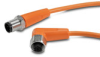 PATCH CABLE 0.3m (0.98ft) M12 RT-ANG FEMALE/AXIAL MALE 4-POLE PVC IP69K ORG -- EVT226 - Image