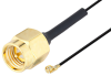 SMA Male to UMCX 2.1 Plug Cable 3 Inch Length Using 0.81mm Coax, RoHS -- PE3CA1028-3 -- View Larger Image