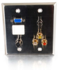 Double Gang HD15 VGA + 3.5mm + S-Video + RCA Audio/Video + Keystone Wall Plate - Stainless Steel -- 2225-40964-ADT - Image
