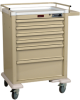 AL809M6 Aluminum Tall 6 Drawer Anesthesia Cart with Mec.. -- AL809M6 -- View Larger Image
