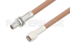 Slide-On BMA Plug Bulkhead to SMA Male Cable 12 Inch Length Using RG400 Coax -- PE3C4955-12 -Image