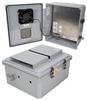 14x12x06 Polycarbonate Weatherproof Outdoor IP24 NEMA 3R Enclosure, 240 VAC Universal Outlet MNT PLT, Mechanical Thermostat Fan DKGY -- TEPC141206-E0F -Image