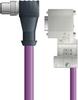 LAPP UNITRONIC® PROFIBUS® D-Sub Cordset to Node Module - 5 positions male M12 90° to D-sub node - Violet Polyurethane (PUR) - Continuous Flex - 2m -- OLFPB4110146F02 -Image