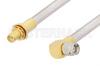 SMA Male Right Angle to SMA Female Bulkhead Cable 48 Inch Length Using PE-SR401AL Coax , LF Solder -- PE34317LF-48 -Image