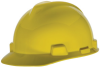 MSA V-Gard® Cap, Yellow, Slotted, Fast-Trac® Ratchet -- 463944R -- View Larger Image