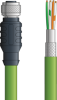 LAPP ETHERLINE® Ethernet Single-Ended Cordset: 4 Pair CAT6A - 8 position female M12 straight connector to Wire Leads - Green Polyurethane (PUR) - C6A004S01 - 1m -- OLFC6A004S01 -Image
