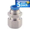 Bulkhead Air Fitting: push-connect, female, for 6mm OD tubing, 5/pk -- FB6M-14R -- View Larger Image