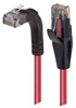 Category 6 Right Angle RJ45 Ethernet Patch Cords - Straight to RA (Up) - Red, 10.0Ft -- TRD695RA2RD-10 -Image