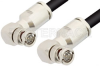 75 Ohm BNC Male Right Angle to 75 Ohm BNC Male Right Angle Cable 48 Inch Length Using 75 Ohm RG6 Coax, RoHS -- PE33426LF-48 -Image