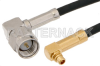 SMA Male Right Angle to MMCX Plug Right Angle Cable 12 Inch Length Using RG174 Coax -- PE36507-12 -Image