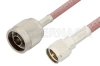N Male to Mini UHF Male Cable 12 Inch Length Using RG142 Coax, RoHS -- PE3285LF-12 -Image