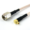 SMA Male to RA MMCX Plug Cable RG-316 Coax in 6 Inch and RoHS -- FMC0219315LF-06 -Image