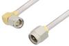 SMA Male to SMA Male Right Angle Cable 24 Inch Length Using PE-SR402AL Coax -- PE34195-24 -Image