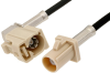 Beige FAKRA Plug to FAKRA Jack Right Angle Cable 60 Inch Length Using PE-C100-LSZH Coax -- PE38749I-60 -- View Larger Image