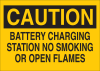 Brady B-401 Polystyrene Rectangle Yellow Battery Changing Area & Battery Room Sign - 14 in Width x 10 in Height - 25792 -- 754476-25792