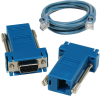 SeaI/O DB9 Female to RJ45 Adapter (RS-232 Pinout) and CAT5 7′ Patch Cable (Blue) -- KT119 - Image