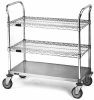 Wire Cart, 3-Shelf w/One Solid Shelf -- EU3-1824CS