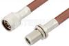 N Male to N Female Bulkhead Cable 72 Inch Length Using RG393 Coax, RoHS -- PE33530LF-72 -Image