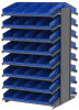Akro-Mils 1800 lb Blue Gray Powder Coated Steel 16 ga Double Sided Fixed Rack - 36 3/4 in Overall Length - 72 Bins - Bins Included - APRD18158 BLUE -- APRD18158 BLUE - Image