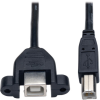 USB 2.0 Hi-Speed Panel Mount Extension Cable (B M to Panel Mount B F) 1-ft. -- U025-001-PM