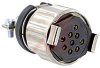 connector,female plug w/locksleeve&hoodw/cable clamp,solder cup,9 socket cont -- 70144739