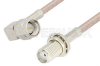 SMA Male Right Angle to SMA Female Bulkhead Cable 24 Inch Length Using 75 Ohm RG179 Coax -- PE34135-24 -Image