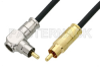75 Ohm RCA Male to 75 Ohm RCA Male Right Angle Cable 36 Inch Length Using 75 Ohm PE-B159-BK Black Coax -- PE38134/BK-36 -Image