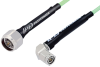 TNC Male Right Angle to N Male Low Loss Cable 24 Inch Length Using PE-P142LL Coax, RoHS -- PE3C1041-24 -Image