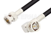75 Ohm BNC Male to 75 Ohm BNC Male Right Angle Cable 72 Inch Length Using 75 Ohm RG59 Coax, RoHS -- PE33196LF-72 -Image